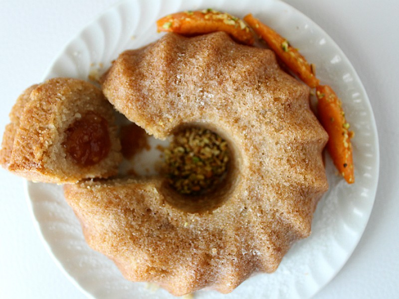 Vegan donut with apricot and Fonio flour