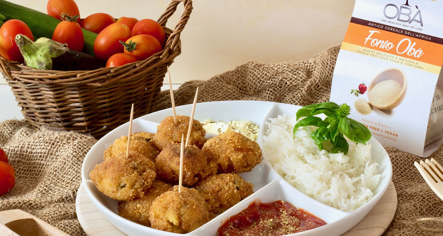 Fonio meatballs and vegetables with basmati rice