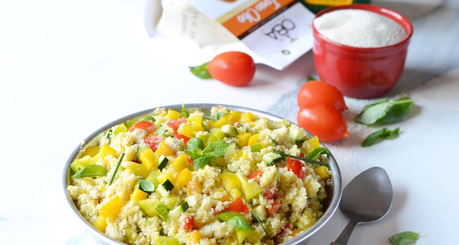 Fonio cous cous with cream of peppers and vegetables